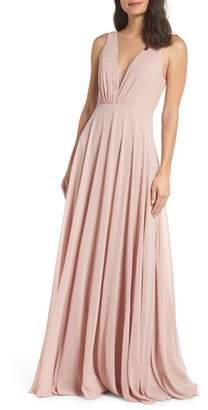 Jenny Yoo Ryan Illusion Neck Chiffon Gown