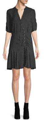 Free People Ruched Dotted Shift Dress