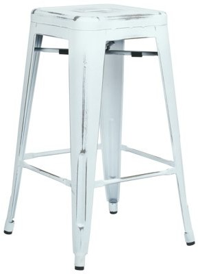 "Office Star OSP Designs by Products Bristow 26"" Antique Metal Barstool, Antique White, 4-Pack"