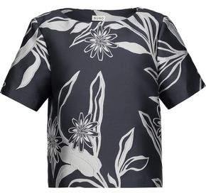 Suno Floral Satin-Jacquard Top