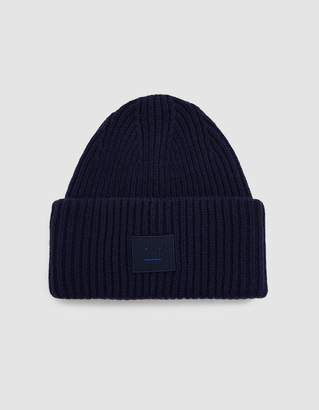 Acne Studios Pansy L Face Beanie in Navy