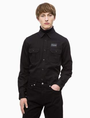 Calvin Klein slim fit logo patch military shirt