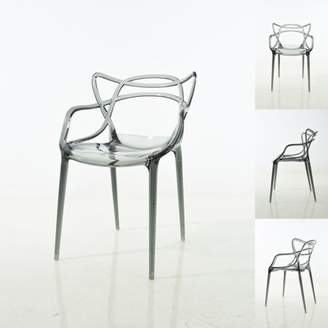 Warehouse of Tiffany Enstrudel Transparent Polycarbonate Dining Chairs set of 2 : Smoked Gray