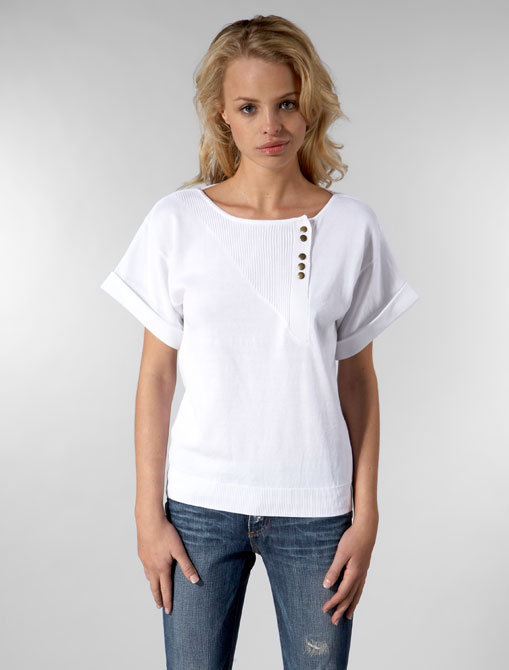 Built by Wendy Cotton Sweater New Wave Top in White