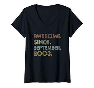 Womens Vintage 16 Years Old Gift Awesome Since September 2003 V-Neck T-Shirt