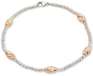 Giani Bernini Two-Tone Beaded Station Bracelet in Sterling Silver & 18k Rose Gold-Plate, Created for Macy's