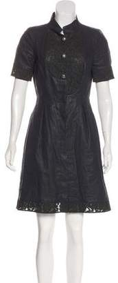 Chanel Lace-Accented Linen Dress