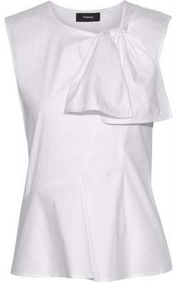 Theory Knotted Cotton-Blend Poplin Top