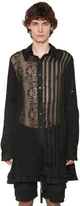 Ann Demeulemeester Embroidered Viscose Blend Shirt W/Pleats