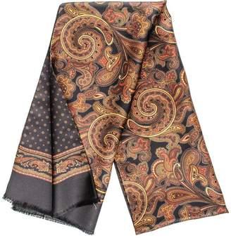 Black Valenza Italian Reversible Paisley Silk Scarf