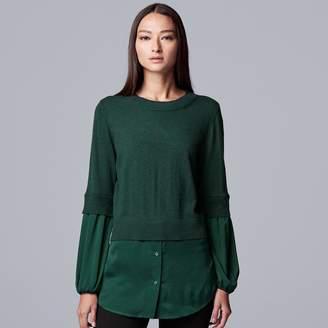 Vera Wang Women's Simply Vera Pleat Sleeve 2Fer