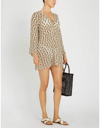 Missoni Metallic geometric crochet short dress