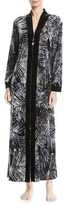 Diamond Tea Gown Silver-Print Velvet Zip Caftan, Plus Size
