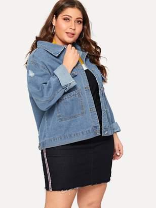 Shein Plus Pocket Front Ripped Denim Jacket