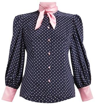 Edeltrud Hofmann - Nico Polka Dot Printed Silk Blouse - Womens - Navy Multi