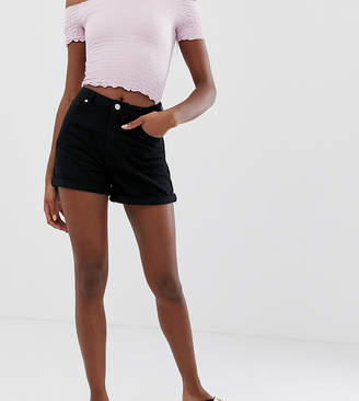 Missguided Tall riot high rise denim shorts in black