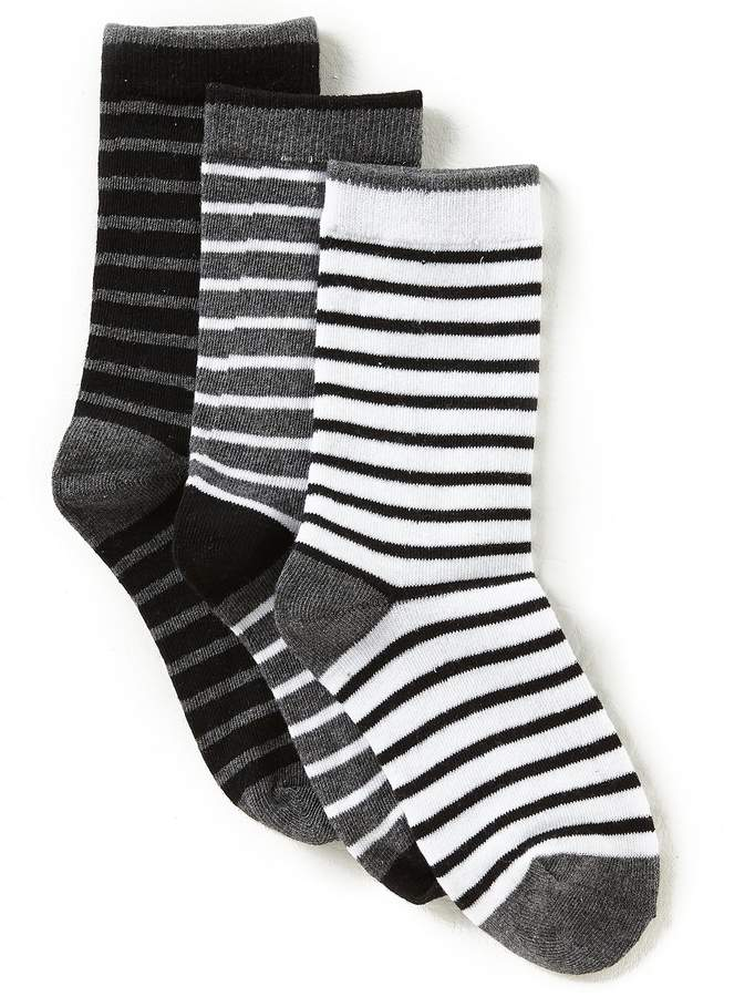 3-Pack Striped Crew Socks