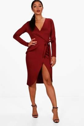 boohoo Sarah Wrap Front Tie Dress