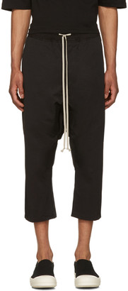 Rick Owens Drkshdw Black Drawstring Cropped Trousers $625 thestylecure.com