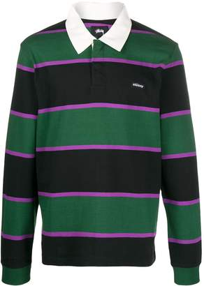Stussy long sleeved striped polo shirt
