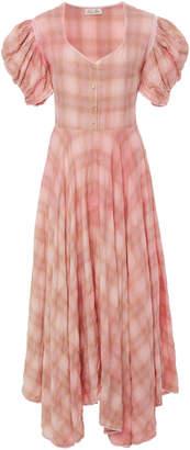 LoveShackFancy Coralie Checked Cotton Midi Dress