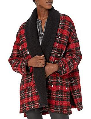 The Kooples Women's Women's Oversized Plaid Jacket with Contrasting Collar