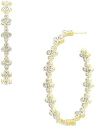 Freida Rothman Fleur Bloom Crystal Clover Hoop Earrings