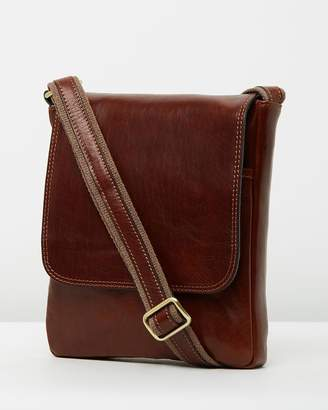 At The Iconic Adriano Brown Leather Satchel