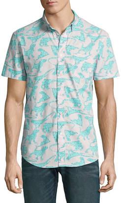 Arizona Mens Y Neck Short Sleeve Button-Front Shirt