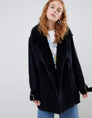 Monki faux sherling coat
