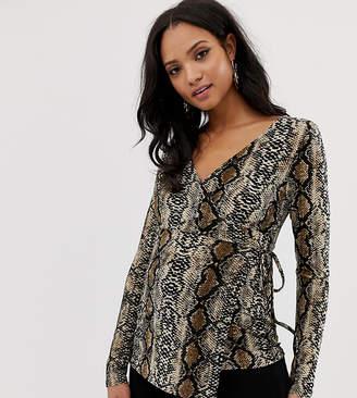 Mama Licious Mama.Licious Mamalicious maternity long sleeve wrap top in snake print