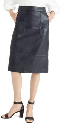 J.Crew Collection A-Line Leather Midi Skirt