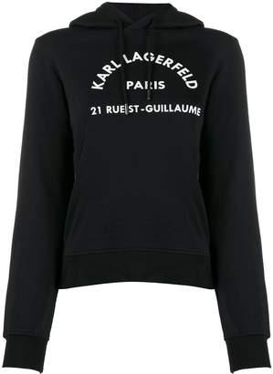 Karl Lagerfeld Paris logo print hoodie