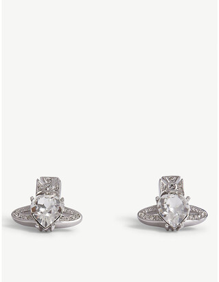 Vivienne Westwood Crystal and Rhodium Heart Shape Ariella Orb Earrings