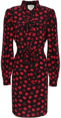 Kate Spade Ruffled Floral-print Silk Mini Dress