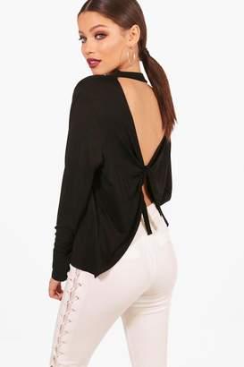 boohoo Cassie Tie Back Long Sleeve Top