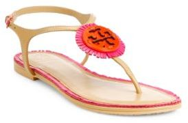 Tory Burch Miller Fringe Logo Leather T-Strap Sandals $225 thestylecure.com