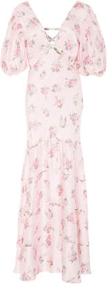 LoveShackFancy Lilia Cutout Floral-Print Silk Maxi Dress