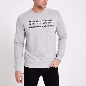 River Island Only and Sons grey print crew neck sweatshirt