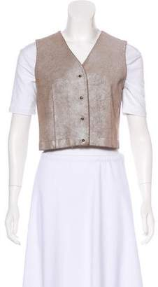 Dosa Leather Cropped Vest