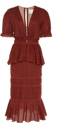 Johanna Ortiz Dandyism Spice Laser-Cut Peplum Cotton Dress
