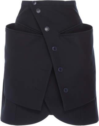 Jacquemus Wrap-Effect Button-Accented Tulip-Hem Mini Skirt Size: 34