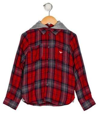 Armani Junior Boys' Hooded Plaid Shirt