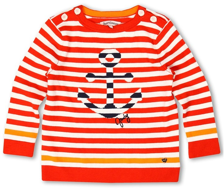Juicy Couture Striped Anchors L/S Sailor Pullover Sweater (Toddler/Little Kids/Big Kids) (Siren Combo w/ Mademoiselle) - Apparel