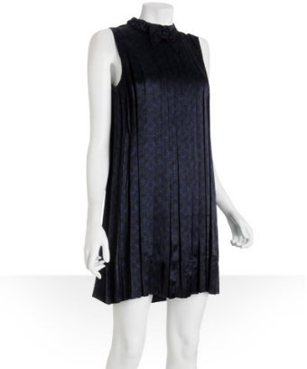 Marc by Marc Jacobs navy pleated print sateen 'Emily' mini dress