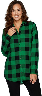 Denim & Co. Heavenly Jersey Buffalo Plaid Button Front Tunic Top
