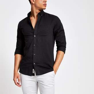 River Island Mens Black linen long sleeve shirt