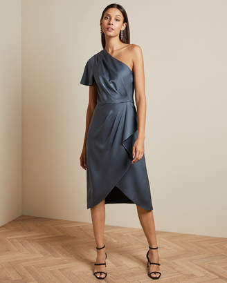 Ted Baker RIDAH Waterfall skirt one shoulder dress