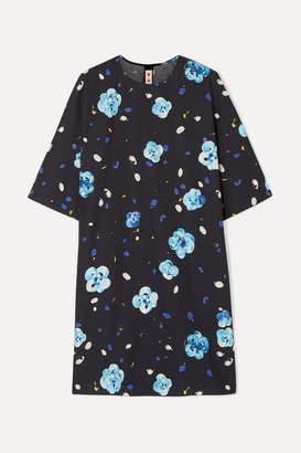 Marni Floral-print Cotton Mini Dress - Blue
