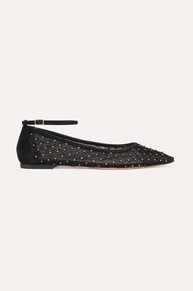 Gianvito Rossi Suede-trimmed Crystal-embellished Mesh Point-toe Flats - Black